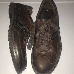 ECCO mens 41 brown leather lace-up walking shoes